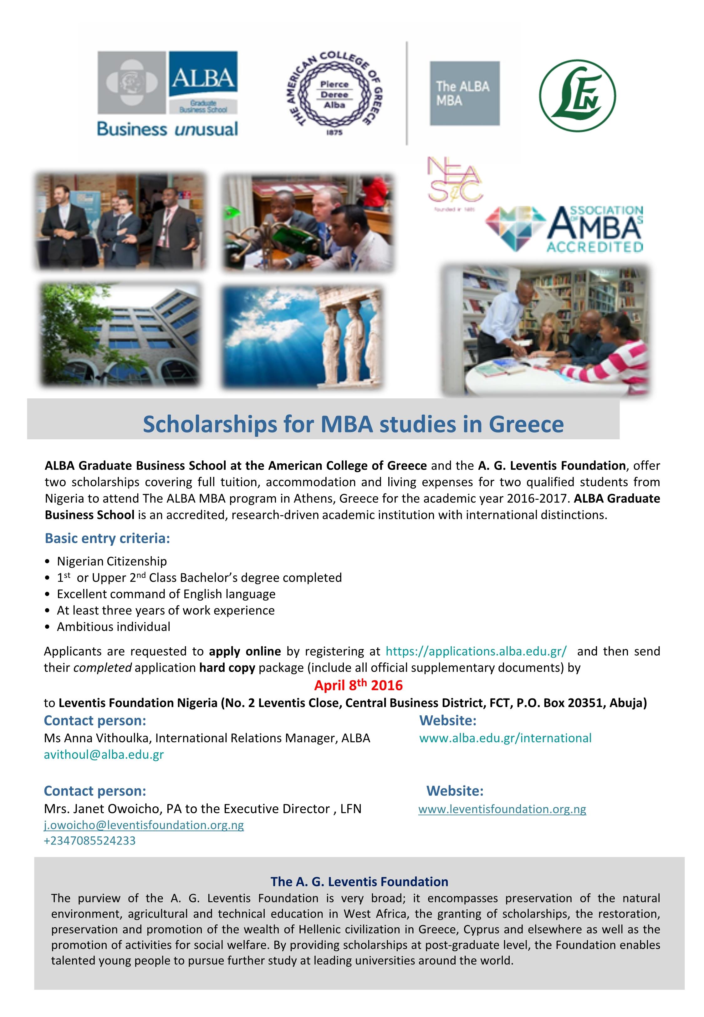 Leventis Foundation 2016 Scholarship for ALBA Graduate School, Greece.
