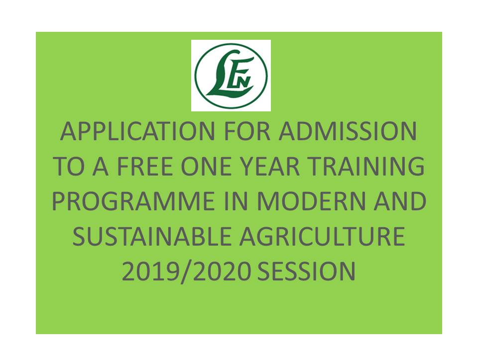 Admission to a One Year Training Programme in Modern and Sustainable Agricultural 2019/2020 Session